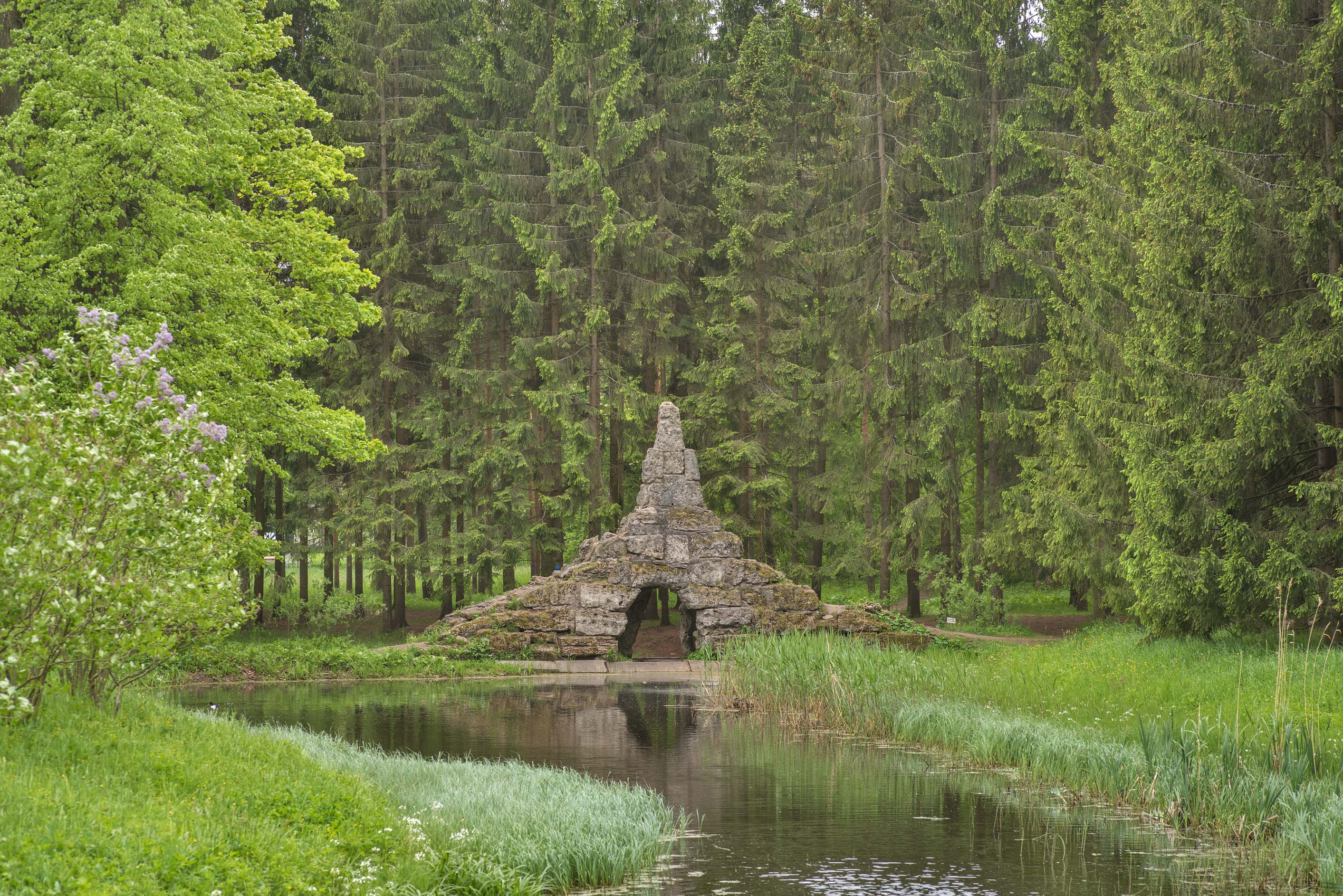 Pudost Stone Bridge Weir in Catherine Park...Selo) near St.Petersburg, Russia