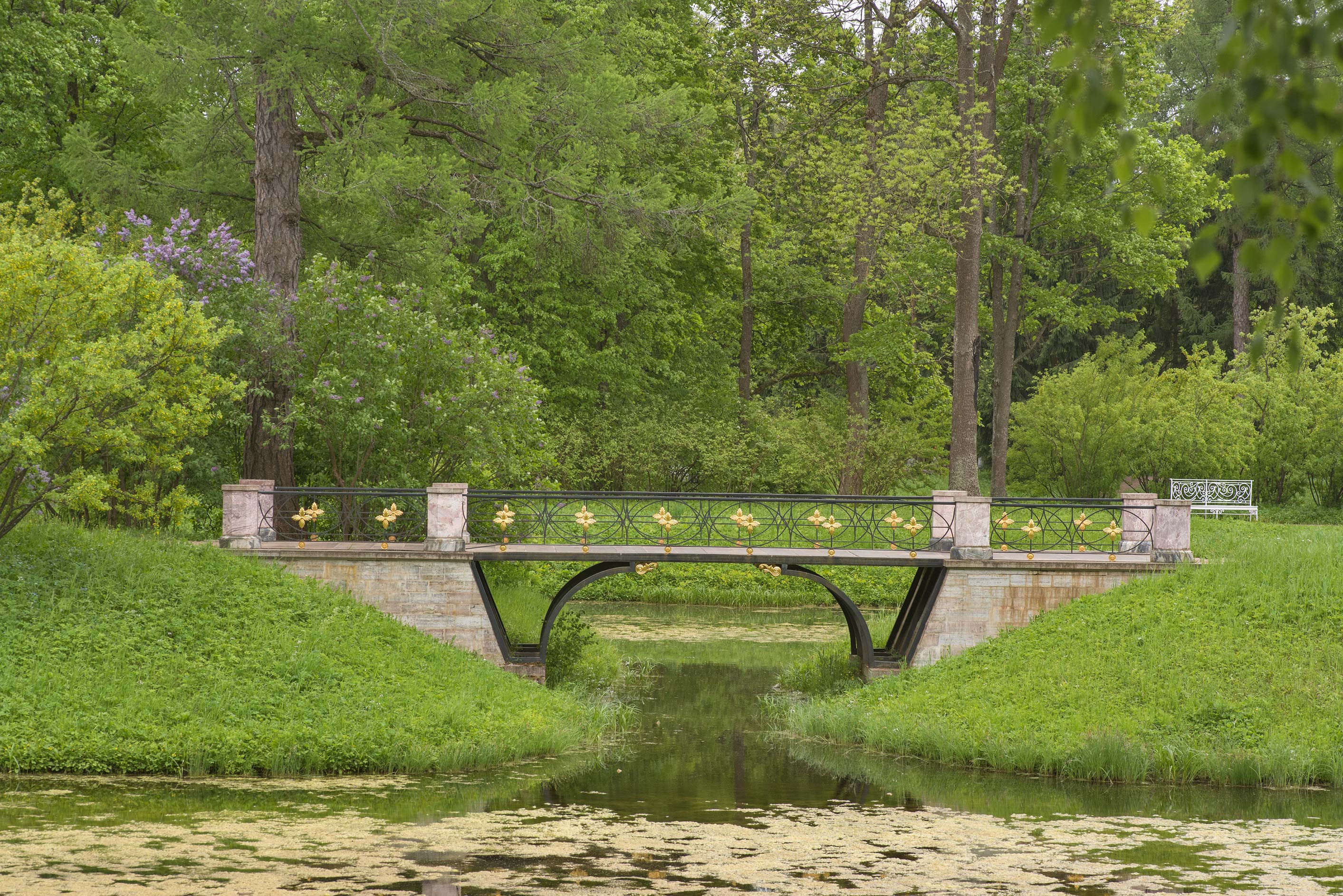 Footbridge of Prodolny Pond in Catherine Park...Selo) near St.Petersburg, Russia