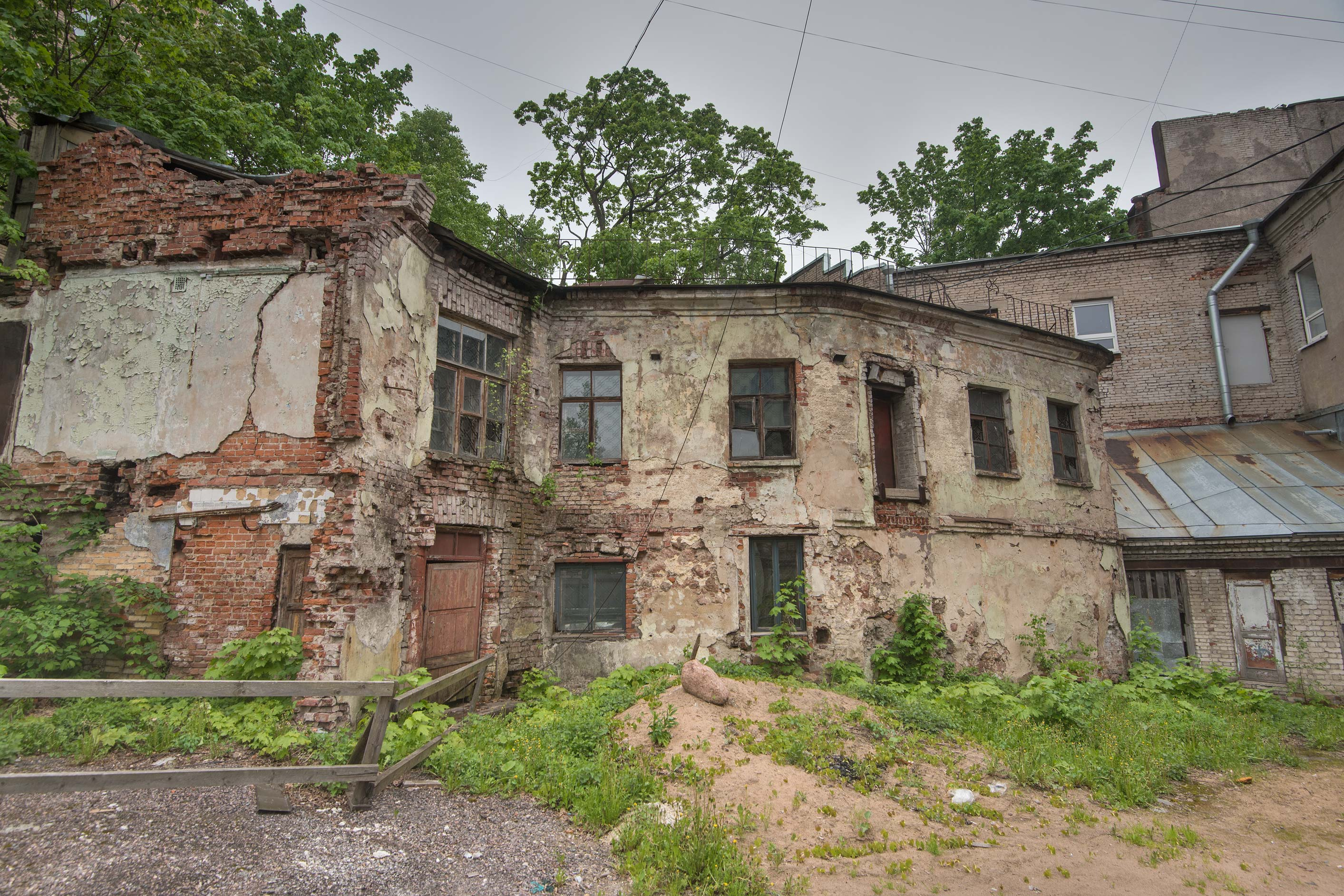 Brick ruins at Bankovsky Proezd in old city of Vyborg. Russia