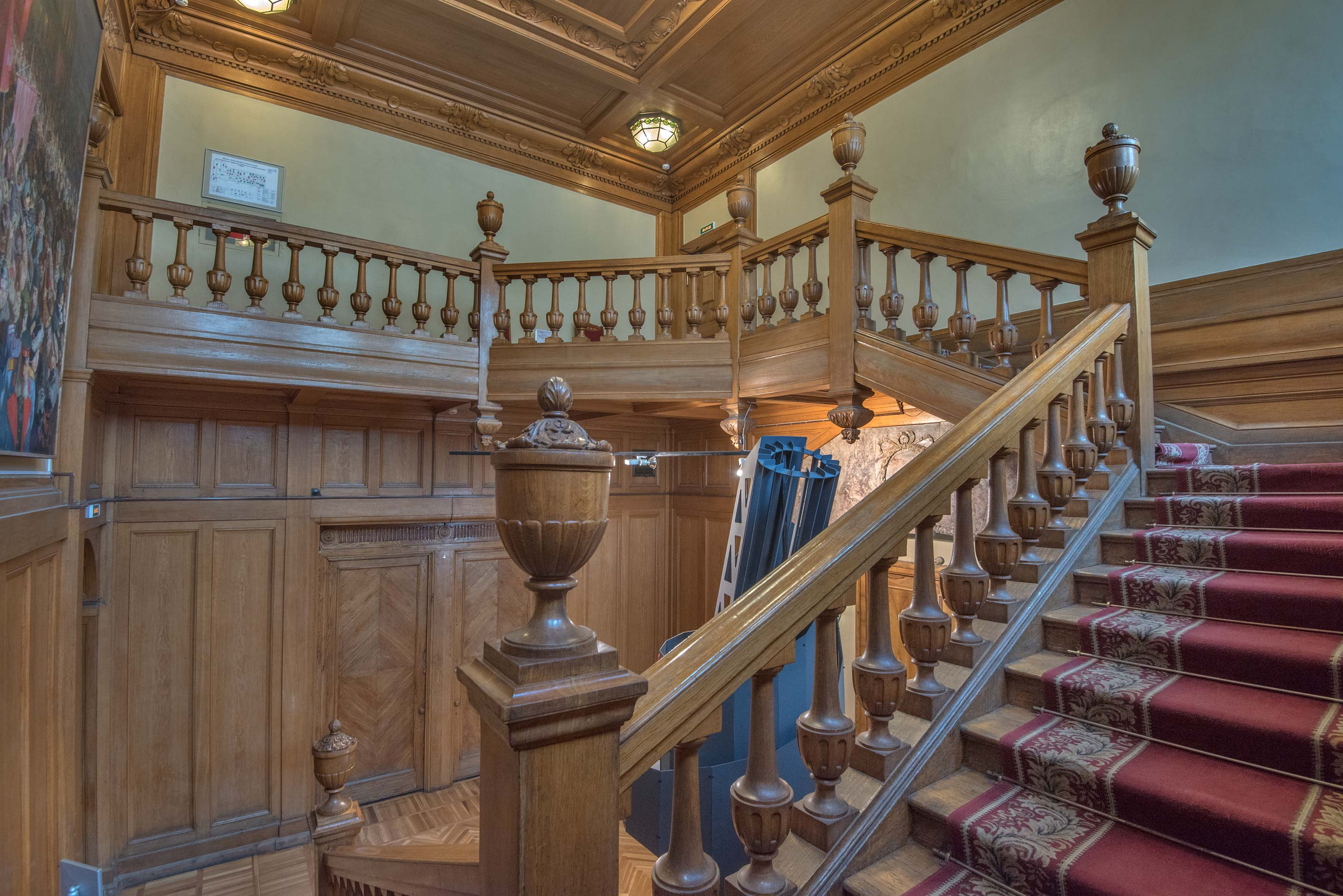 Wooden staircase in Museum of Political History...Mansion). St.Petersburg, Russia