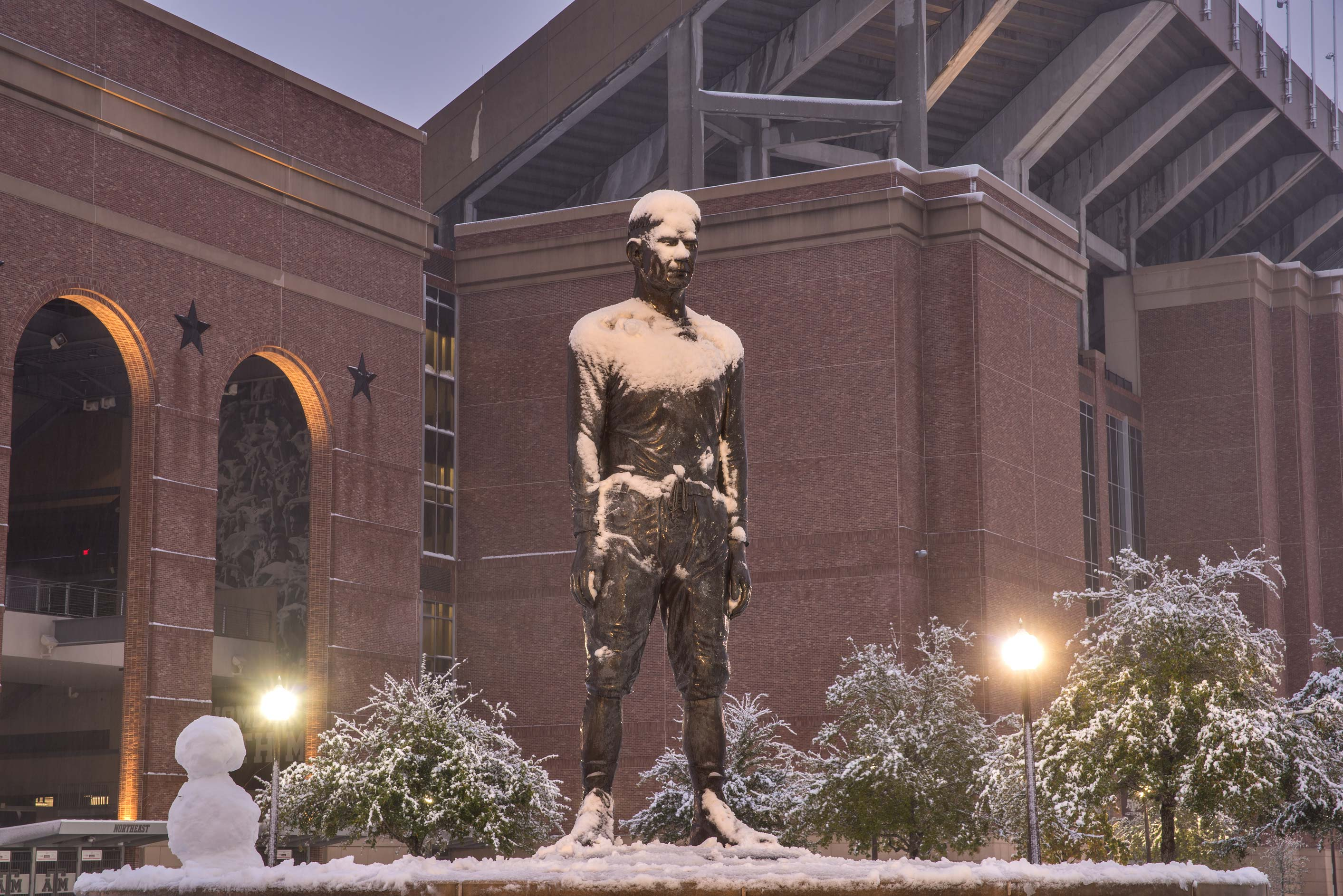 12th Man Statue near Kyle Field at evening in...M University. College Station, Texas
