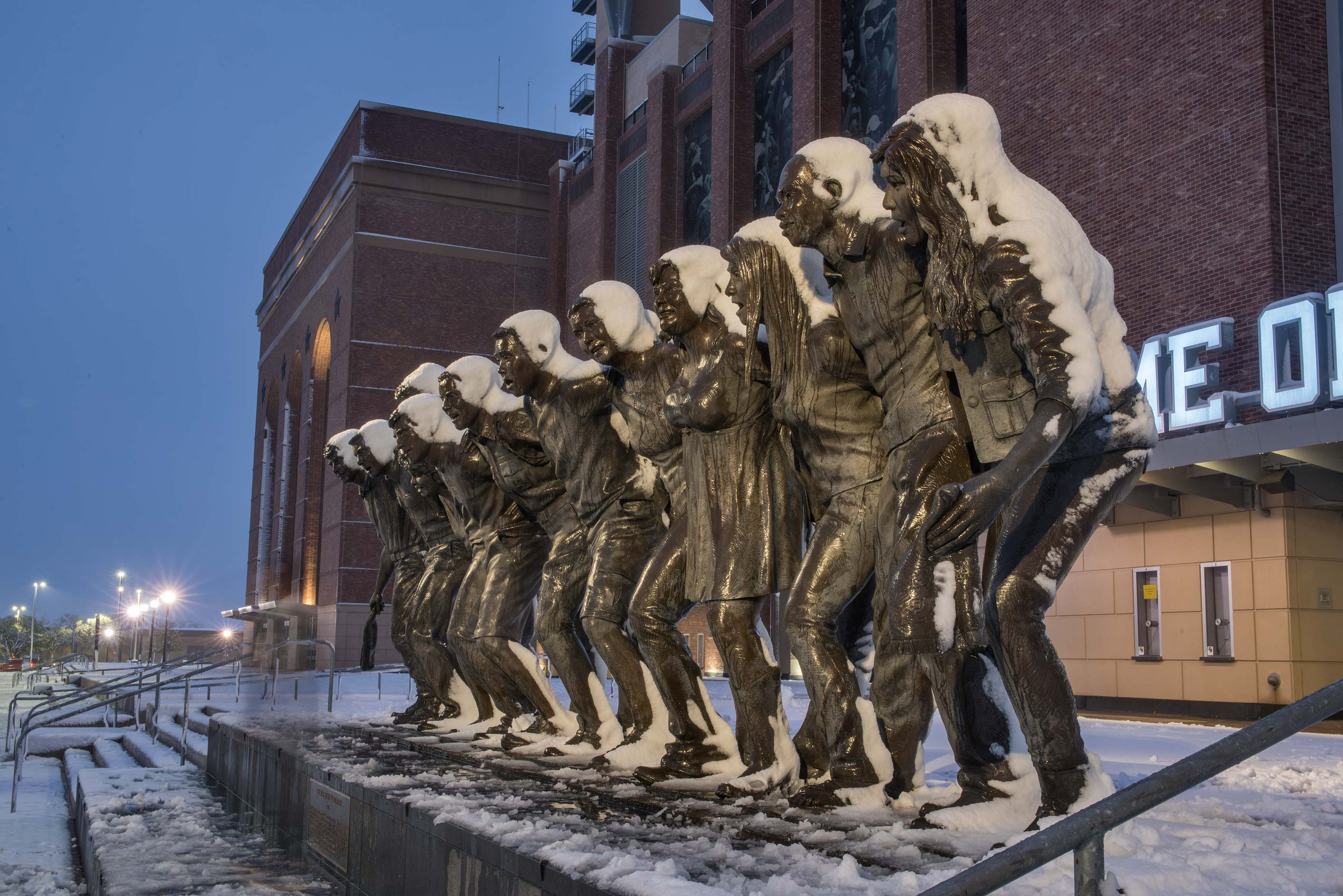 War Hymn Statue near Kyle Field in snow on campus...M University. College Station, Texas