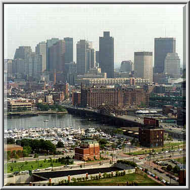 View of charles river and downtown boston from the top of bunker hill