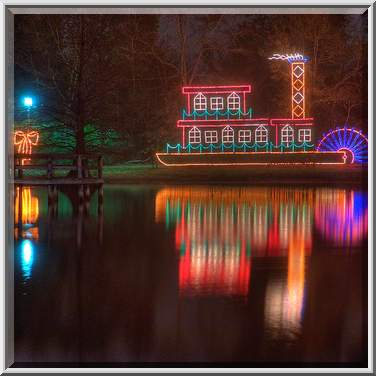 Steamboat Christmas light decoration in Central Park. College Station ...