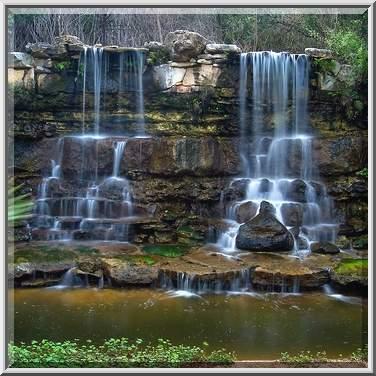Photo 717 05 Twin Artificial Waterfall In Zilker Botanical