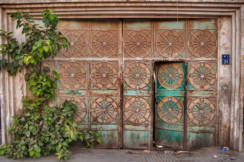 Iron door with sacred fig (Bo-Tree, Ficus religiosa) on Abdul Aziz Bin Ahmed Street, Musheirib area. Doha, Qatar, May 11, 2013