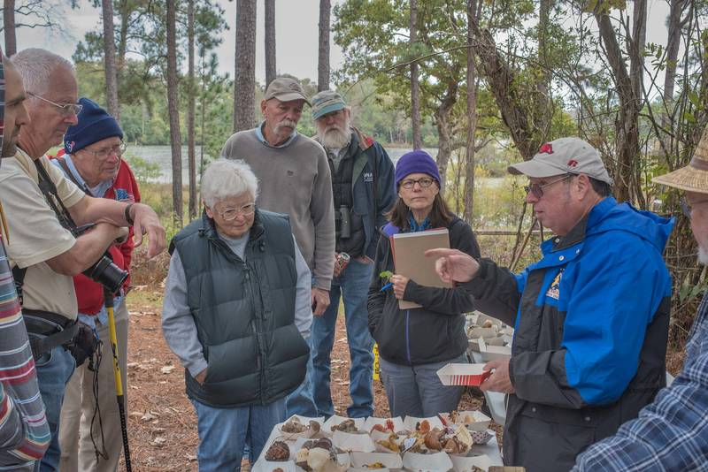 Discussion with Jay Justice after mushroom walk of Gulf States Mycological Society in Watson Rare Native Plant Preserve. Warren, Texas, November 10, 2018