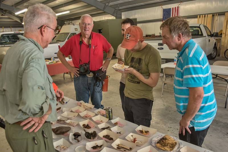 Discussing collected mushrooms after a mushroom walk on a property at 5369 Farm to Market Road 770 near Kountze. Texas, June 8, 2019
