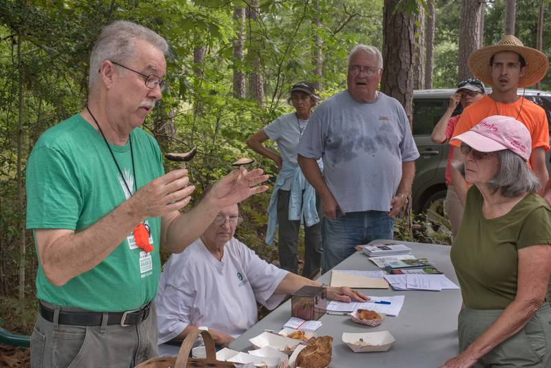 After a mushroom walk with president of Gulf States Mycological Society David Lewis in Watson Rare Native Plant Preserve. Warren, Texas, June 22, 2019